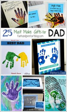 25 Must Make Handprint Crafts for Father's Day! - Fun Handprint Art - 25 Must Make Gifts for Father's Day using Handprints & Footprints - Fathers Day Cards, Happy Fathers Day, Gifts For Father, Gifts For Kids, Fingerprint Crafts, Footprint Crafts, Diy Father's Day Gifts Easy, Father's Day Diy, Fathersday Crafts