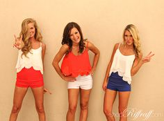 ALL AMERICAN Red, white, and blue aren't just for the Fourth of July anymore. Show your American pride all the time! Our hot shorts and beaded crop top tanks are a perfect way to start... and you can get them in your favorite American color combo. {shop these items on www.shopriffraff.com}