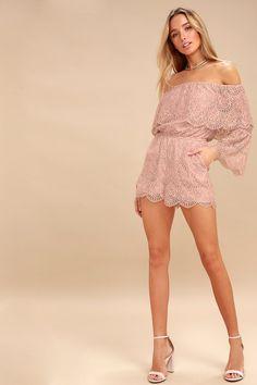 Kennedy Mauve Pink Lace Off-the-Shoulder Romper e63f87db5