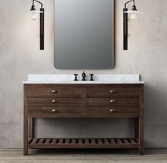 "PRINTMAKER'S EXTRA-WIDE SINGLE VANITY SINK $3095 Vanity Sink with Top: 55½""W x 24""D x 33¾""H Vanity Base: 55½""W x 23¾""D x 32½""H Restoration Hardware"