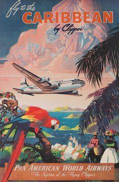 Pan Am vintage travel poster