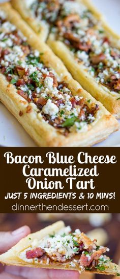 Bacon Blue Cheese Caramelized Onion Tart with just five ingredients total, it is the perfect easy appetizer for a party that can be prepped and frozen ahead of time so you can just bake right before your party! TisTheSeasonsPromo AD by naomial Appetizers For A Crowd, Yummy Appetizers, Appetizer Recipes, Party Appetizers, Frozen Appetizers, Puff Pastry Appetizers, Appetizer Dessert, Caramelised Onion Tart, Caramelized Onions