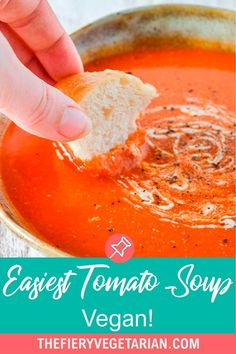 This easy creamy homemade vegan tomato soup recipe is the best tomato soup recipe you can make from pantry essentials in under half an hour! Simple and quick, make the best tomato soup ever without chopping or blending. No muss, no fuss, just throw eight ingredients (including coconut milk - don't worry you can't taste it) in a pot and cook for 20 minutes. Done! What will you serve with yours? Vegetarian Lunch Ideas For Work, Easy Vegan Lunch, Quick Easy Vegan, Vegan Lunches, Vegan Meals, Spicy Vegetarian Recipes, Vegan Dinner Recipes, Delicious Vegan Recipes, Vegan Tomato Soup