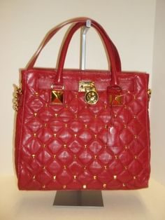 MICHAEL KORS Red Quilted Leather N/S Studded Hamilton Satchel Tote Handbag