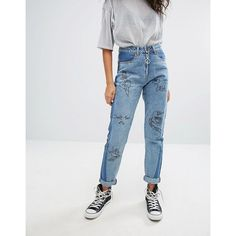 Liquor & Poker Mom Fit Jean With Graffiti Patches and Contrast Wash (84 AUD) ❤ liked on Polyvore featuring jeans, blue, blue ripped jeans, tall skinny jeans, ripped skinny jeans, blue skinny jeans and high waisted distressed jeans
