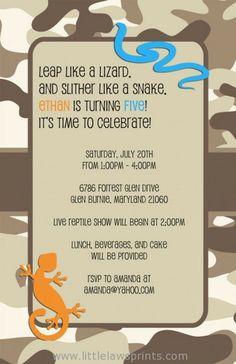 reptile invitation, birthday, party, lizard, snake, camo