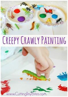 Creepy Crawly Bug Painting is part of Creepy Crawly Bug Painting Paper And Glue - Creepy Crawly Bug Painting Easy process art painting project for kids Great for insect theme preschool unit Preschool At Home, Preschool Themes, Preschool Crafts, Spring Preschool Theme, Preschool Camping Theme, Daycare Crafts, Process Art Preschool, Kids Daycare, Camping Crafts