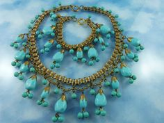 Unsigned Miriam Haskell Turquoise Glass Gold Tone Book Chain Bib Front Statement Necklace & Bracelet Set