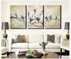 hand bemalt modernen abstrakte 3pc weiß violette blume leinwand kunst Ölbild dekorative wandbilder für in  von  auf Aliexpress.com