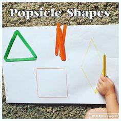 Popsicle Shapes {We are practicing our basic (straight line) shapes by making them with Popsicle sticks!} #toddlerbusytime #toddleractivities #toddleractivity #toddlerplay #toddlerfun #toddlerlearning #toddlershapes