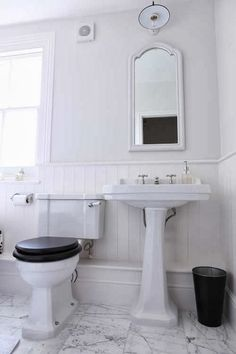 A delightful Victorian style bathroom, achievable on a moderate budget. Toilet and basin by Aston Matthews.