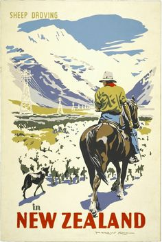 Sheep Droving in New Zealand by Marcus King for Sale - New Zealand Art Prints Retro Poster, Vintage Travel Posters, Poster On, Poster Prints, Art Prints, Party Vintage, Vintage Ads, Posters Australia, New Zealand Art