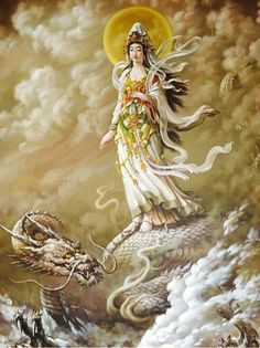 Chinese Dragon, Chinese Art, Buddha Art, Religious Images, Guanyin, Watercolor Drawing, Gods And Goddesses, Paintings, Angels