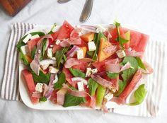 Melon and Prosciutto Salad with arugula and feta cheese