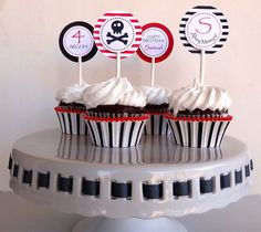 Pirate Cupcake Toppers - Boys Birthday Decorations. $10.00, via Etsy.