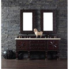 "James Martin Furniture Balmoral 72"" Double Antique Walnut Bathroom Vanity Set Top Finish: Santa Cecilia Granite Top"