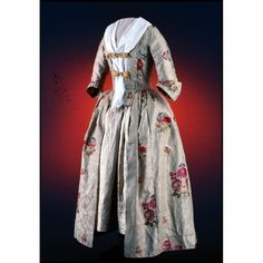 """Gown, brocaded worsted damask  1750-1765  Origin: England, Norwich  OL: 58""""…"""