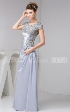 Flipped Floor-Length Caped-Sleeve Ruched Column Gown With Lace