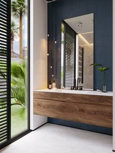 Pour salle d'eau de notre chambre, avec carreaux effet sable type vu chez Forgiarini half bathroom ideas upstairs and they're perfect for guests. They don't have to be as functional as the family bathrooms, so hope you enjoy these ideas. Bathroom Mirror Design, Bathroom Interior Design, Bathroom Mirrors, Bathroom Furniture, Bathroom Cabinets, Modern Furniture, Rustic Furniture, Antique Furniture, Floating Bathroom Vanities