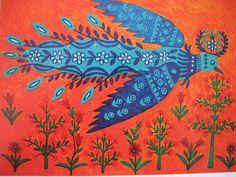 """""""Pássaro-sol, centeio e trigo"""", de Maria Primachenko, 1980"""