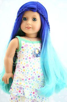 Custom American Girl Doll Aquaria with Blue Green Hair Wig by Beautifully Custom