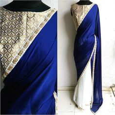 CHROME.....nothing like a solid color blocking for a satin georgette sari. Navy blue and ivory are the perfect match and a pearl and stone worked border to keep things simple and elegant. Love this vintage brocade blouse in ivory and gold to add an old world charm. #Waidurya