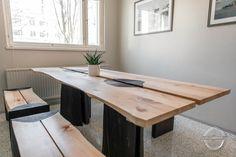 Table from Grandma's Hayloft - Puuartisti Plank, Corner Desk, Solid Wood, Furniture Design, Dining Table, Interior Design, Home Decor, Corner Table, Nest Design
