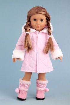 DreamWorld Collections Cotton Candy - Pink parka with hood, short ivory dress and pink boots - 18 Inch American Girl Doll Clothes : Winter Doll Clothing