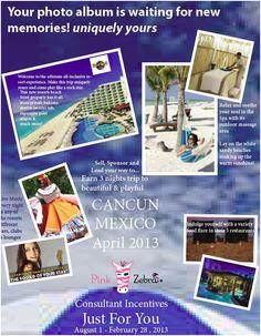 Pink Zebra offers GREAT incentives. You can win a trip to Cancun or a FREE Ipad. Gotta love Pink Zebra!