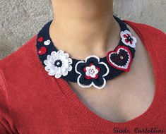 Crochet statement necklace crochet fiber necklace crochet