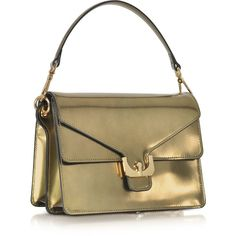 Coccinelle Ambrine Lux Gold Laminated Leather Satchel Bag ($355) ❤ liked on Polyvore featuring bags and handbags
