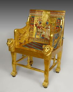 A King Tut, replica throne chair. Features an overall gilt resin foundation, with a woven wicker style seat and Ancient Egyptian motifs and hieroglyphics. Ancient Artifacts, Ancient Egypt, Ancient History, Egyptian Kings, Egyptian Art, Egyptian Home Decor, Cairo City, King On Throne, Asian Art Museum