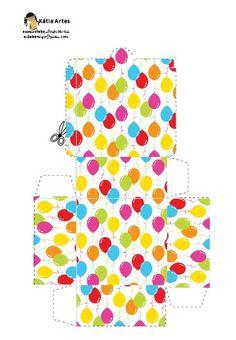 Cajita cuadrada globos de colores