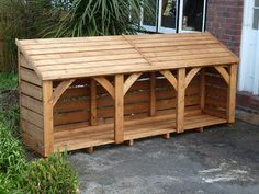 This is the same design as our 3 bay log store but is high x x It should store just over cubic mtrs of logs. It is usually delivered fully constructed, so you do need to make sure that there is turning room… Outdoor Firewood Rack, Firewood Shed, Firewood Storage, Pallet Shed, Pallets Garden, Log Shed, Bin Store, Store 3, Cat House Diy