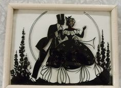 "Vintage Reverse Painted Framed Convex Glass Silhouette;Black & White;6.5""x8.5"" #Vintage"