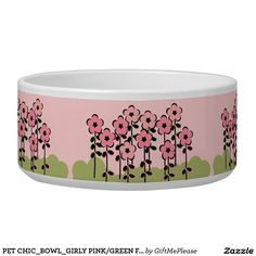 PET CHIC_BOWL_GIRLY PINK/GREEN FLORAL PET WATER BOWLS