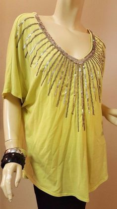 Torrid Yellow Lime Green Knit Top Gold Beads Sequins Dolman Sleeve 0 0X 12-14-16 #Torrid #KnitTop #Casual