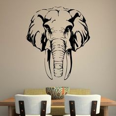 Elephant Art, African Elephant, African Animals, Animal Wall Decals, Wall Decal Sticker, Elephant Black And White, Graffiti, Wood Burning Stencils, African Wall Art