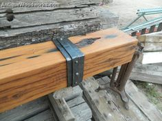 Fireplace Mantels with Iron Straps and Metal Accents - Antique Woodworks