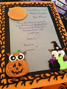 Homemade Owl invitations Halloween Owl, Halloween Birthday, Birthday Bash, Homemade Invitations, Owl Invitations, Owl Mask, Owl Punch, Cool Costumes, Shower Ideas