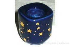BLUE CERAMIC STARS SPELLWORK CANDLE HOLDER Holds 100mm Candles Wicca Pagan Witch