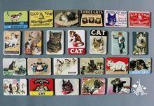 Decoração de casa 24 PCS gato dos desenhos animados frigorífico imã set animal cat designs adesivos magnéticos frete grátis(China (Mainland))