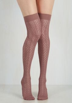 Socks - To the Pointelle Thigh Highs in Mauve