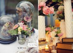 Vintage vessels for holding pretty petals -15 Tips to Plan A Perfect Vintage Wedding -InvitesWeddings.com