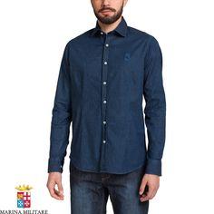 Camicia 98% cotone 2% spandex in denim leggero elasticizzato, effetto vintage.