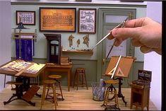 architect's office circa 1900 by William Robertson Vitrine Miniature, Miniature Rooms, Miniature Houses, Miniature Furniture, Dollhouse Furniture, Minis, Victorian Dollhouse, Barbie Furniture, Miniture Things