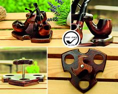 Tobacco pipe rack KAF3/Pipe stand for 3 pipes/Wooden pipe stand/Tobacco pipe holder for 3 pipes/Pipe display/Pipe rack/Showcase/Holder pipes by KAFpipeWorkshop on Etsy