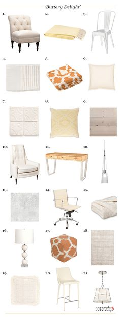 buttery delight product roundup, get the look, burnt orange, buttercream yellow, frosted silver, ivory, benjamin moore cream puff, creamy white, pinkish-cream, interior styling ideas