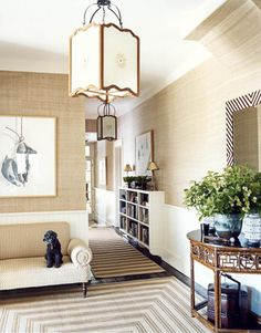 Love the texture and warmth.  Stenciled sisal is to die for...