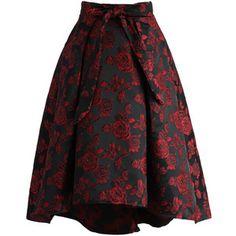 Chicwish Dashing Rose Embossed Waterfall Skirt in Red